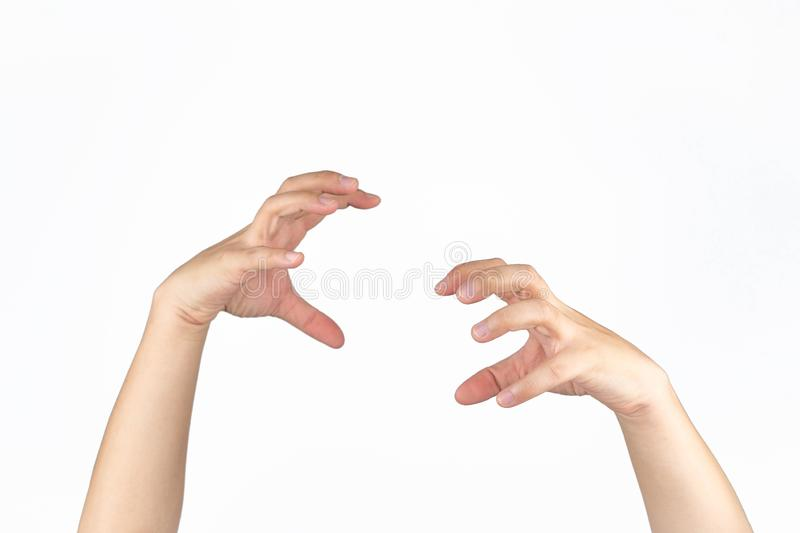 Asian male`s hand opens palm and post like a animal claw in studio light isolated white background with clipping path. Asian male`s hand opens palm and  post royalty free stock photos