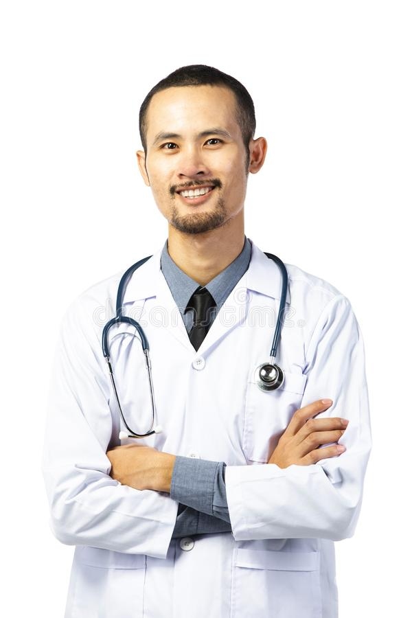 Asian male smiling doctor in white uniform standing with stethoscope stock image