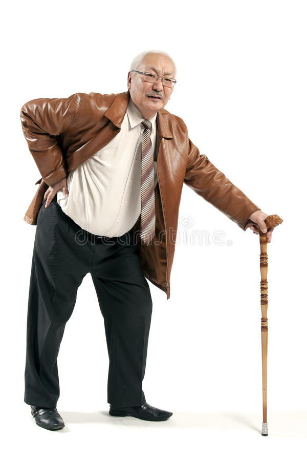 Asian man with cane. Mature man with cane isolated on white background stock photography