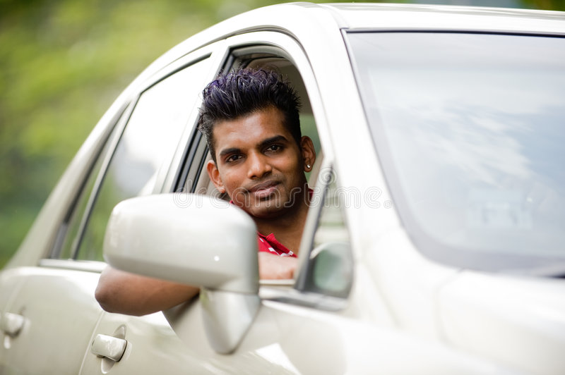 Download Asian Man In Car stock photo. Image of indian, shirt, built - 3879780
