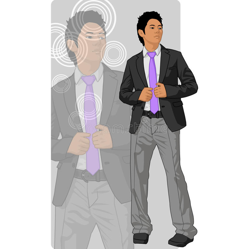 Asian man in coat and tie. Illustration of an Asian man wearing a coat and tie royalty free illustration