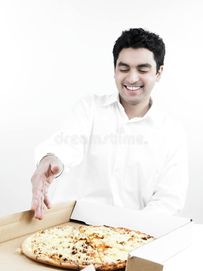 Asian man eating pizza stock image. Image of black, food ...