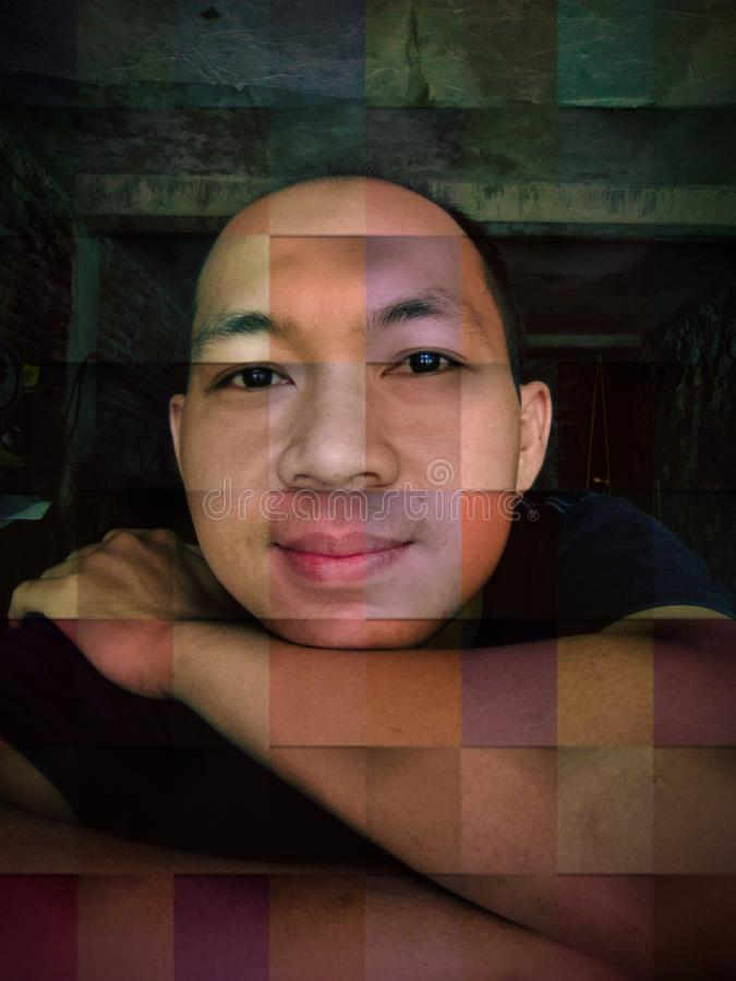 Asian man face smiling expression in collage mode royalty free stock photography