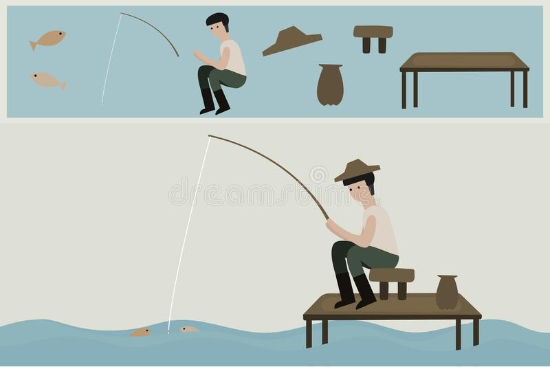 Asian man fishing in the river. Asian man fishing in the river character illustration set royalty free illustration