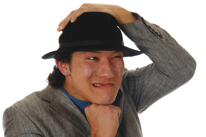 Asian man in a hat royalty free stock photo
