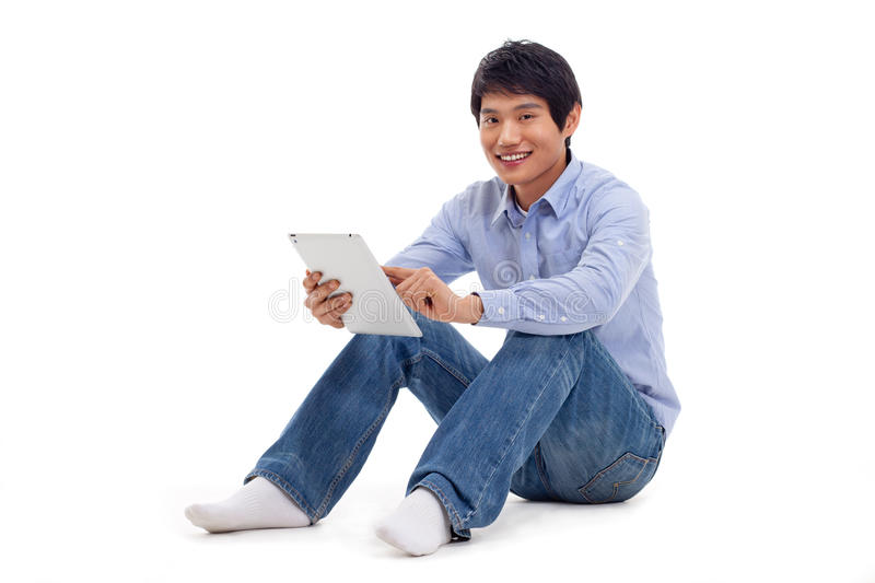 Download Asian Man Holding Tablet Computer Stock Photography - Image: 29025052