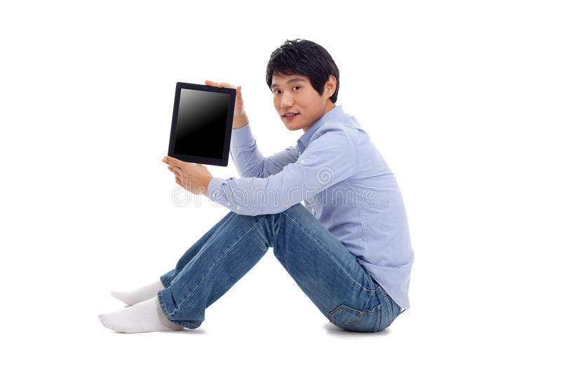 Download Asian Man Holding Tablet Computer Stock Photo - Image: 29025132