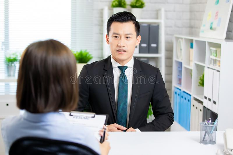 Asian man in job interview royalty free stock photography