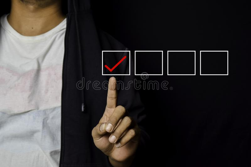 Asian Man pointed check list icon for customer isolated on black background royalty free stock images