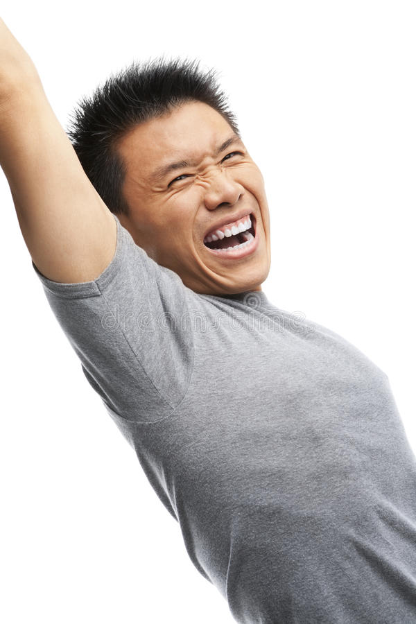 Asian man screaming to express his excitement