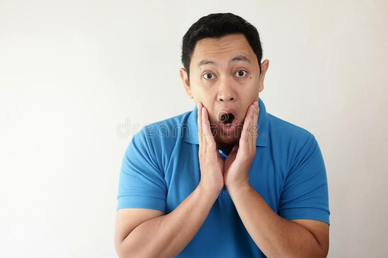 Asian Man Shocked with Mouth Open royalty free stock image