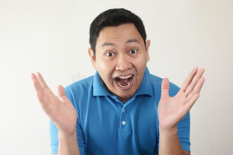 Asian Man Shocked with Mouth Open stock images