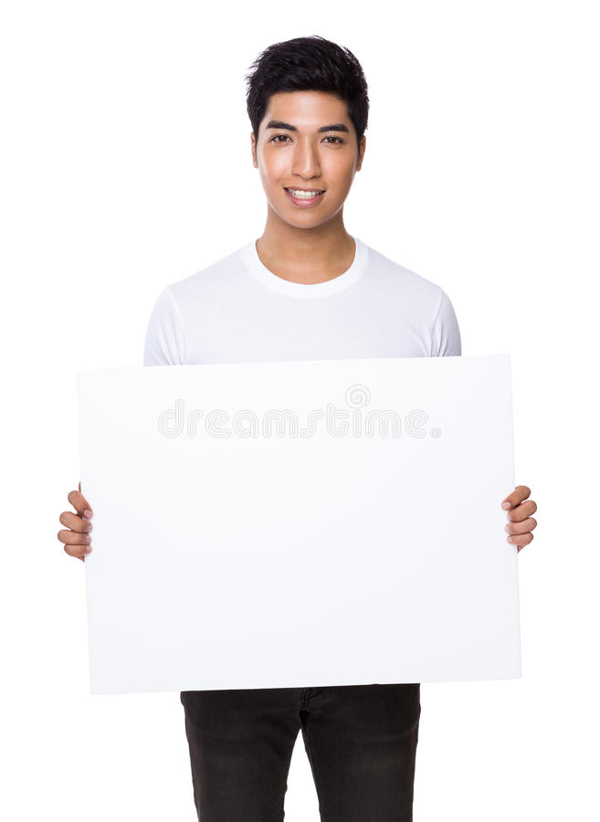 Asian man show with white board royalty free stock photo