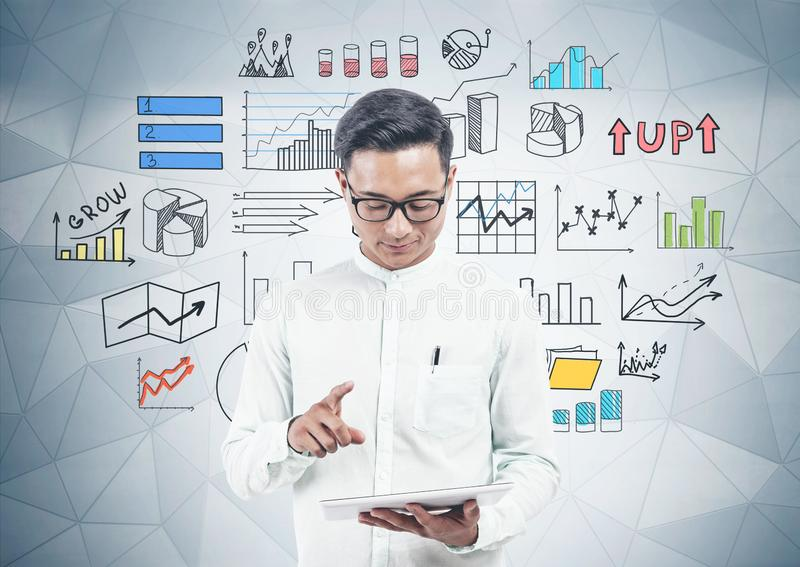 Asian man with tablet, business infographic stock illustration
