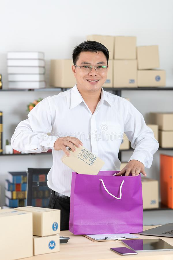 Asian man working royalty free stock photo