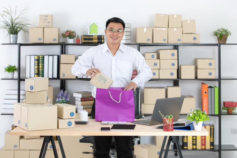 Asian man working stock photos