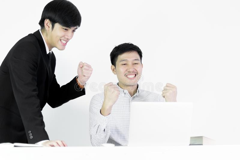 Asian manger businessman and employee salary man has working tog royalty free stock image