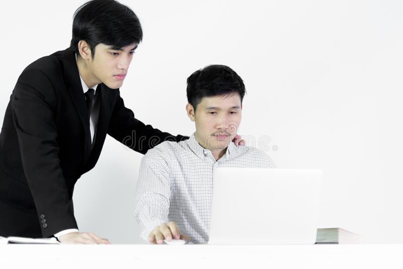 Asian manger businessman and employee salary man has working together with feeling happy and success, isolated on white background royalty free stock photography