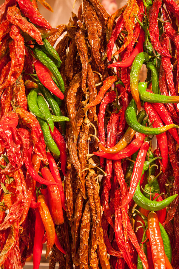 Asian market foods chili royalty free stock photos