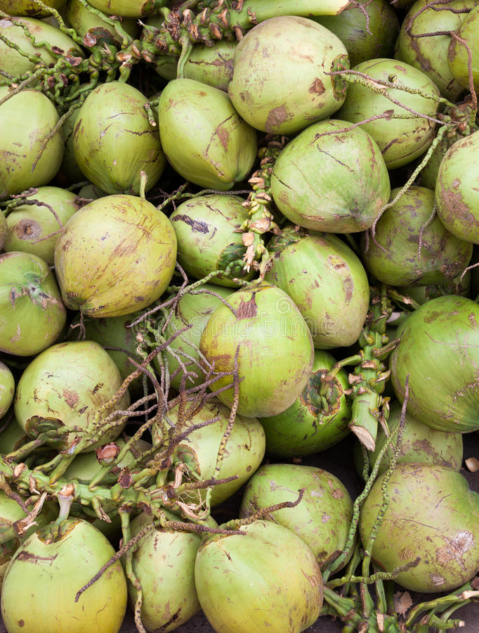 Asian market foods coconuts. Asian food market in Ho Chi Min aka Saigon Vietname royalty free stock photos