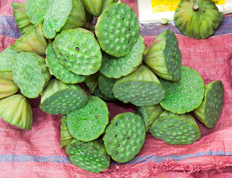Asian market foods lotus flower. Asian food market in Ho Chi Min aka Saigon Vietname stock image