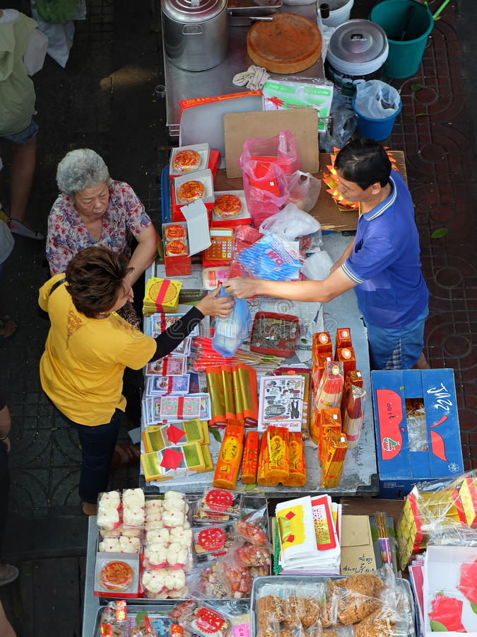 Asian market scene stock photo