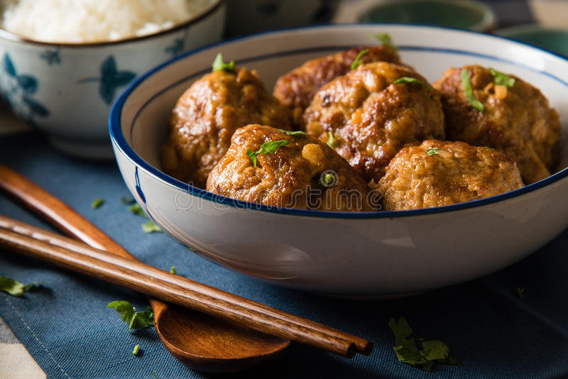 Asian Meatballs Served with White Rice royalty free stock images