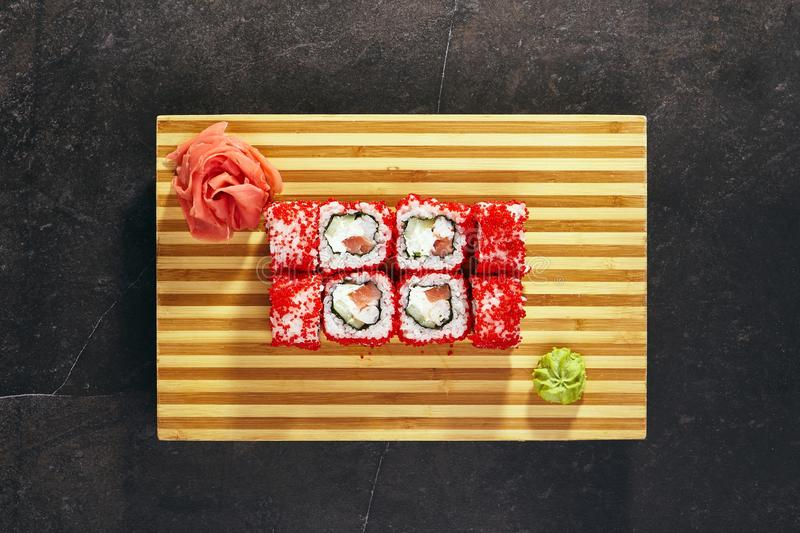 Sushi Roll with Masago stock image
