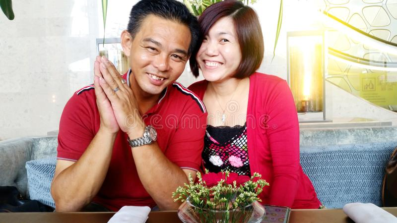 Beautiful Asian middle age  couple royalty free stock image