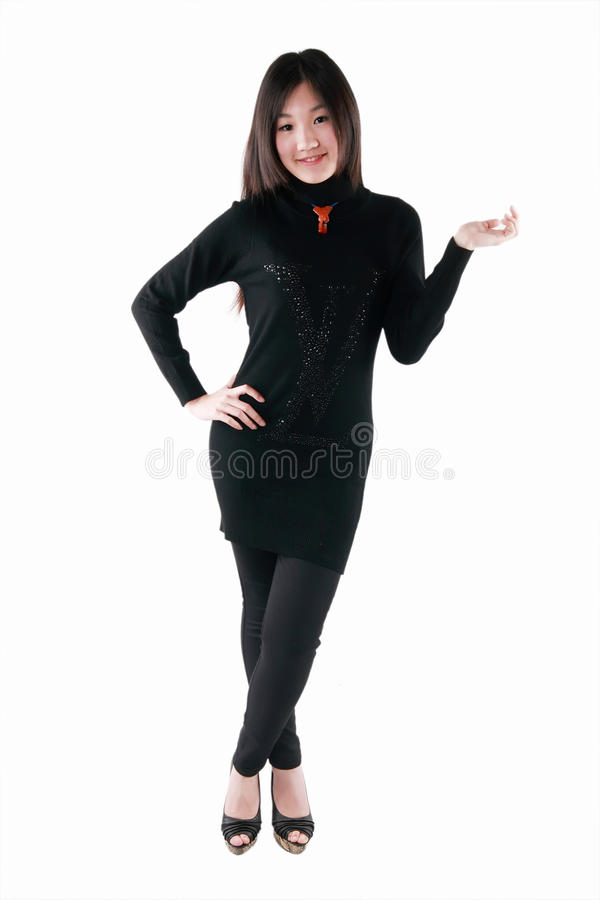Download Asian model in black dress stock image. Image of beauty - 28604729