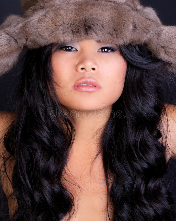 Download Asian Model in Furry Hat stock image. Image of mascara - 21422335