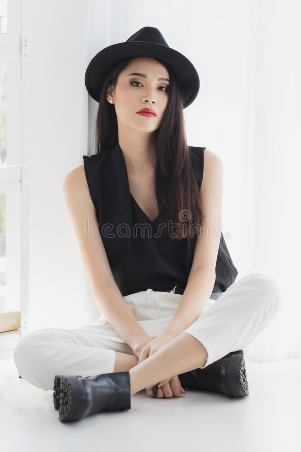 Asian model woman standing and pompous stock images