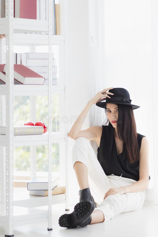 Asian model woman standing and pompous stock image