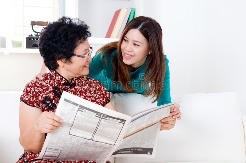 Asian mother and daughter royalty free stock images