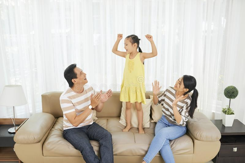 Family having fun at home royalty free stock photography