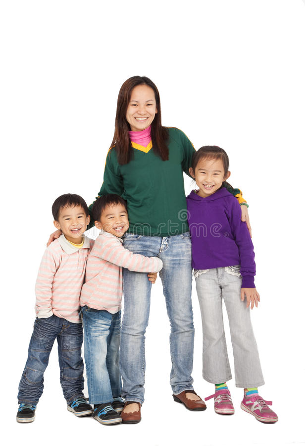 Asian Mother with her family stock photos