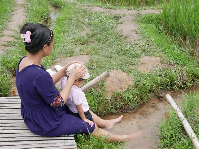 Asian mother and her little baby girl enjoy spending time together in a rice field royalty free stock photography