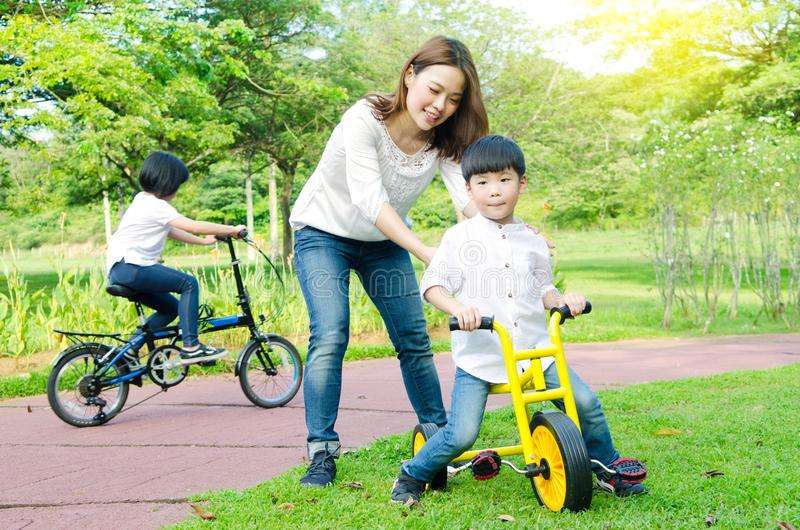 Asian mother and kids stock photo