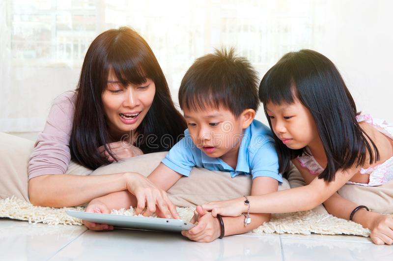 Asian mother and kids royalty free stock photo