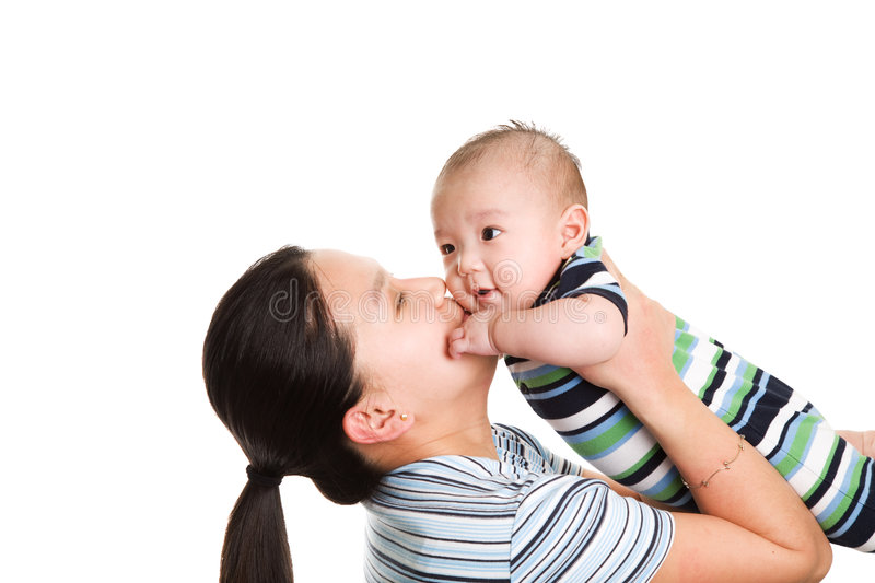 Asian mother and son stock image
