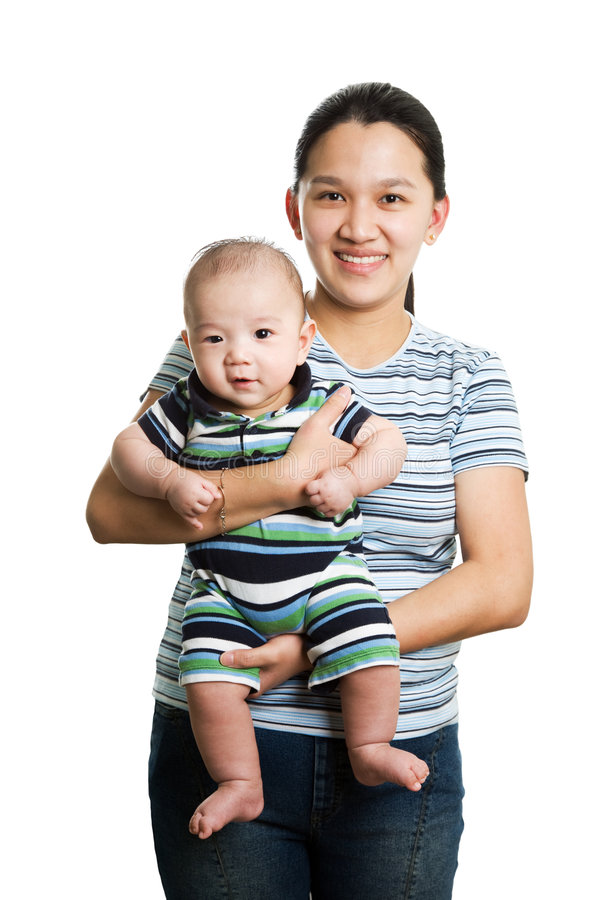 Asian mother and son royalty free stock photo