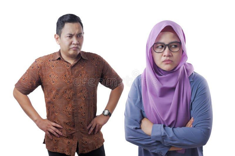 Asian Muslim Couple Having Bad Relation royalty free stock photography