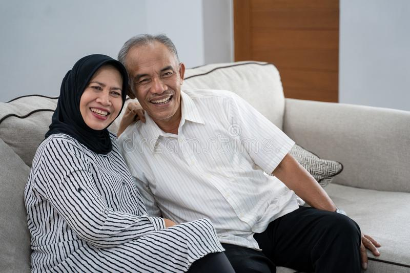 Asian muslim eldery couple together royalty free stock photos