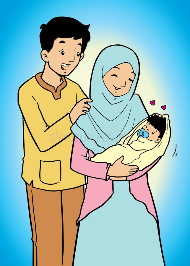 Asian Muslim Family And Baby Stock Illustration