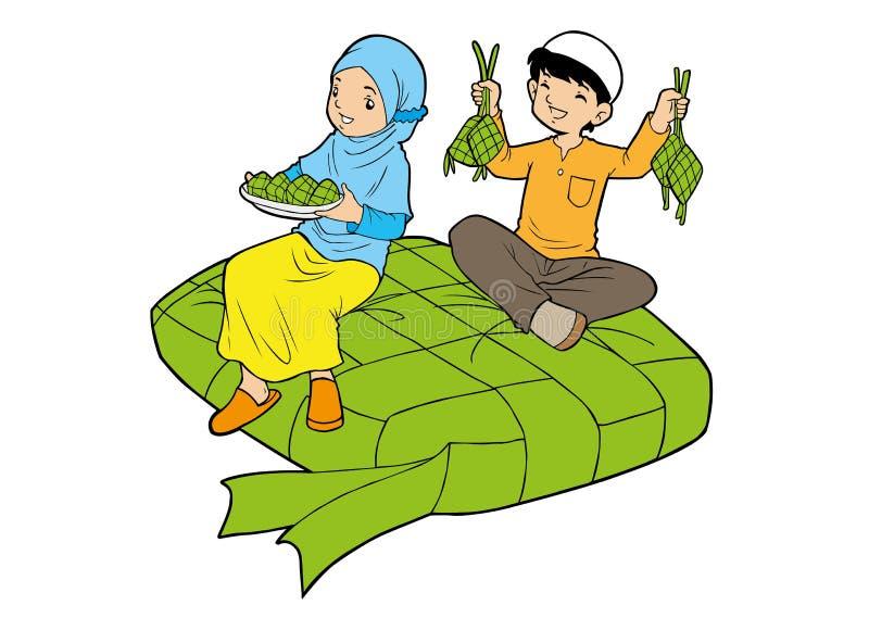 Asian muslim little kids with big ketupat royalty free illustration