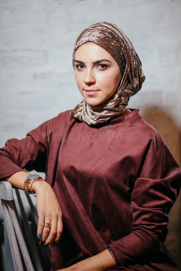 Asian muslimah woman looking on camera royalty free stock image