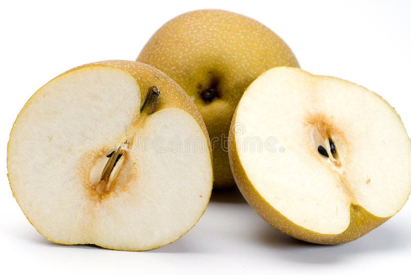 Asian nashi pear. Also known as japanese chinese korean sliced open royalty free stock image