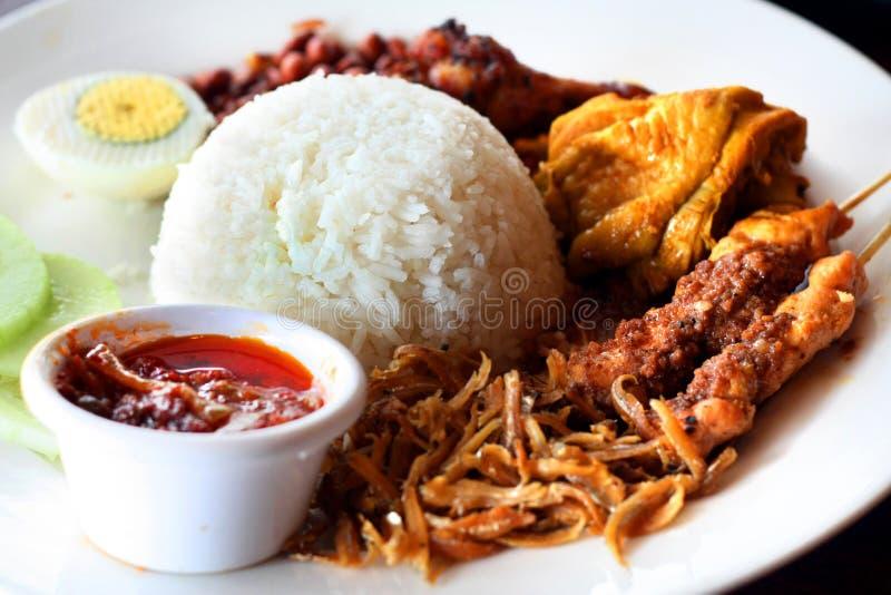 Asian Nasi Lemak Stock Photo