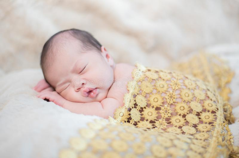 Asian newborn. Lovely kid and little child royalty free stock images