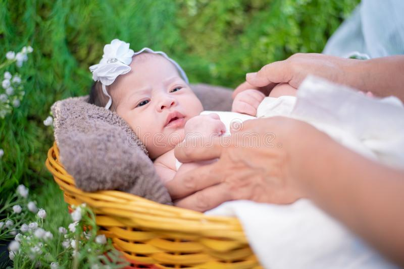 Asian newborn. Lovely kid and little child of parent. stock photo
